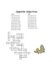 English Worksheet: Easy Adjectives Crossword