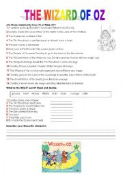 English Worksheet: The Wizard of Oz