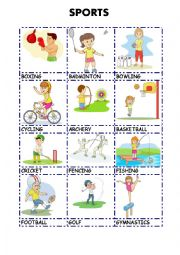 English Worksheet: SPORTS pictionary