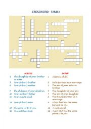 English Worksheet: Crossword - Family