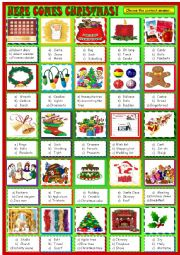 Heres comes Christmas , multiple choice activity