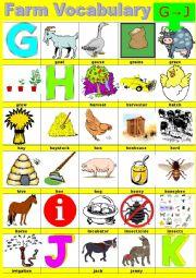 Farm vocabulary - Pictionary -  G to J