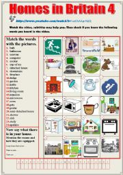 English Worksheet: Homes in Britain Vocabulary  Video + SPEAKING (Test)