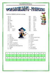 English Worksheet: GRAMMAR REVISION 1 - WORDBUILDING - PREFIXES