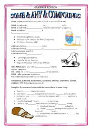 English Worksheet: GRAMMAR REVISION 2 - SOME AND ANY with key