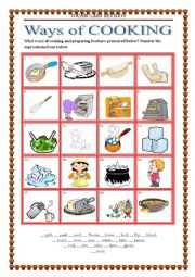 English Worksheet: Vocabulary Revision 6 - ways of cooking