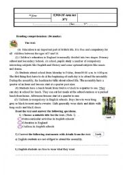 English Worksheet: end-of-term test n 1 for 8th form tunisian prep school