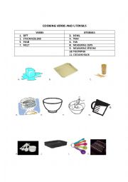 English Worksheet: Simple Cooking Verbs and Vocab+Recipe
