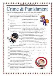 english worksheets vocabulary revision 7 crime and punishment. Black Bedroom Furniture Sets. Home Design Ideas