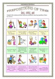 English Worksheet: GRAMMAR REVISION 4 - PREPOSITIONS OF TIME in on at