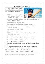 English Worksheet: Mr Baseball part 1