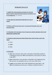 English Worksheet: Mr Baseball part 3