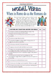 English Worksheet: GRAMMAR REVISION - Modal verbs with key