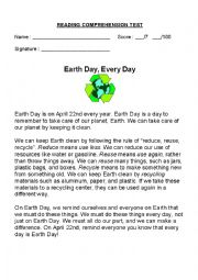 English Worksheet: EARTH DAY, EVERY DAY