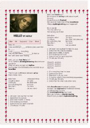 English Worksheet: Hello Adele