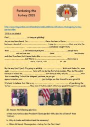 English Worksheet:  pardoning the turkey (Obama-White House)2015 listening comprehension