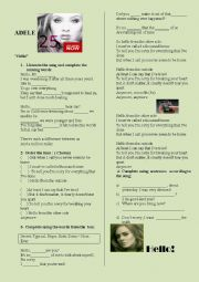 English Worksheet: Adele- Hello