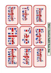English Worksheet: American and British English Noun Snap