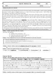 English Worksheet: 9th form test 2 tunisian pupils