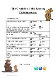 English Worksheet: The Gruffalo�s Child Reading Comprehension