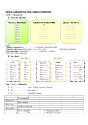 English Worksheet:   NEW HEADWAY ELEMENTARY HANDOUTS