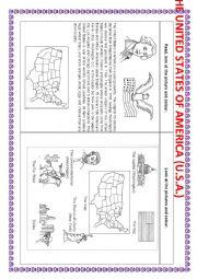 English Worksheet: THE UNITED STATES OF AMERICA (U.S.A.)