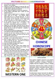 English Worksheet: Picture-based conversation : topic 93 - Chinese horoscope vs Western one.