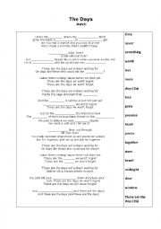 English Worksheet: The Days by Avicii_Fill in the Blanks