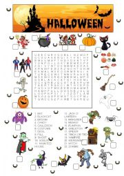 Halloween match and wordsearch