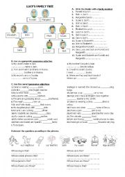English Worksheet: family members and possessive adjectives