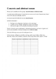 English Worksheet: concerete and abstract nouns