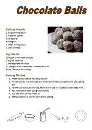 English Worksheet: Chocolate Ball Activity