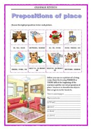 English Worksheet: GRAMMAR REVISION 5 - PREPOSITIONS OF PLACE THERE IS THERE ARE