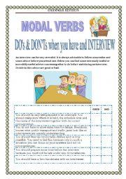English Worksheet: GRAMMAR REVISION  - MODALS