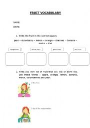 English Worksheet: Fruit vocabulary
