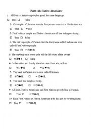 English Worksheet: quiz the native americans