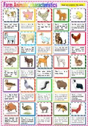 English Worksheet: Farm Animals Characteristics.