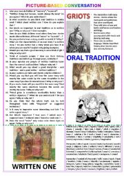 Picture-based conversation : topic 94 - oral tradition vs written tradition.