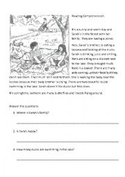 English Worksheet: Picnic in the forest
