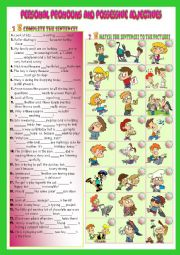 English Worksheet: Personal Pronouns and Possessive Adjectives