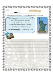 English Worksheet: writing on describing a place