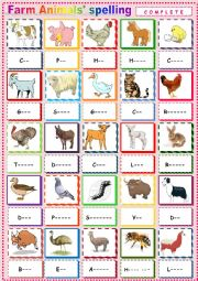 English worksheet: Farm Animals 3 Spelling.