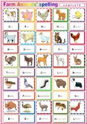 English worksheet: Farm Animals 3 Spelling.