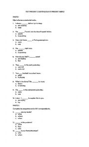 Present simple present continuous test klasa 5