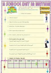 English Worksheet: A school day in Britain : VIDEO