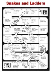 snakes and ladders template pdf - english worksheets snakes and ladders for so do i