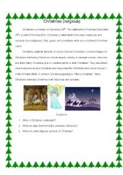 English Worksheet: Christmas Reading and Questions
