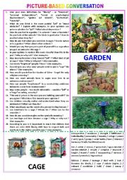 English Worksheet: Picture-based conversation : topic 96 - cage vs garden (symbolic meaning).
