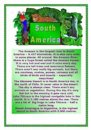 English Worksheet: South America