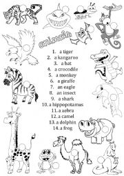 English Worksheet: Animals - matching  | Project 2 4th ed.